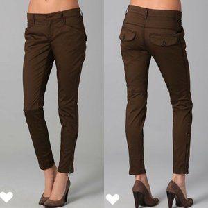 VINCE Jodhpur Brown Ankle Zip Skinny Slim Cotton Pants Women's Designer